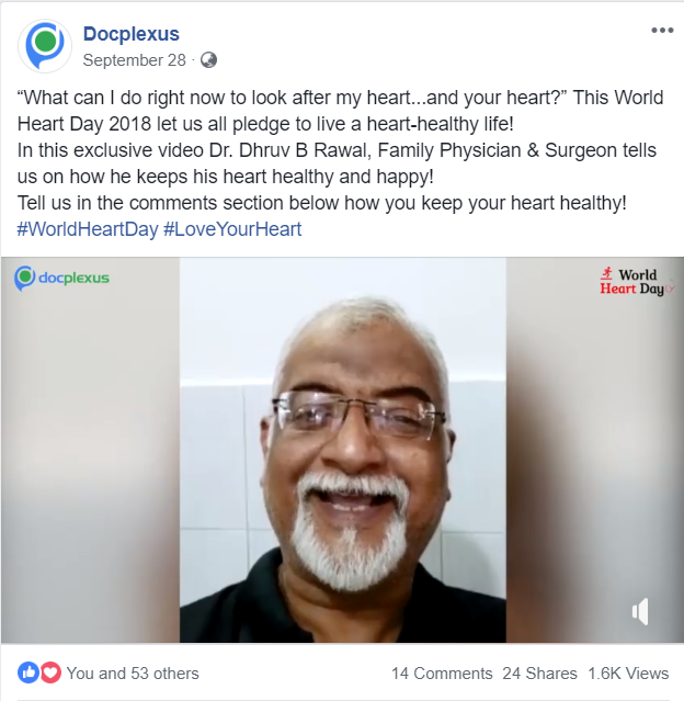 Dr Dhruv Rawal's secret to a #healthyheart published on Facebook on September 28