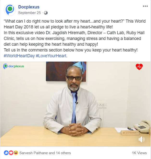 One minute video of Dr Jagdish Hiremath shared on Facebook on September 25