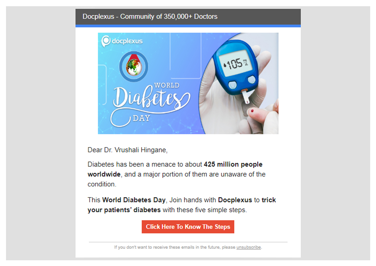 Docplexus Email Campaign - World diabetes Day(Case study)